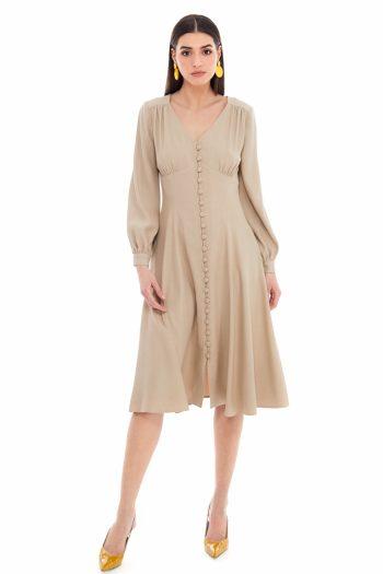Gathered Viscose Shirt Dress