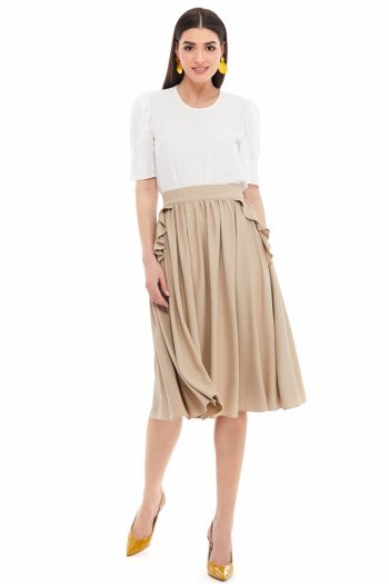 Gathered Viscose Skirt