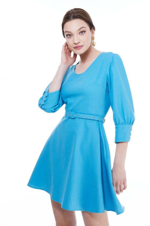Gina Puff Sleeve Cotton Mini Dress