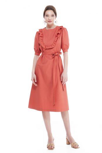 Ginger Belted Cotton Midi Dress