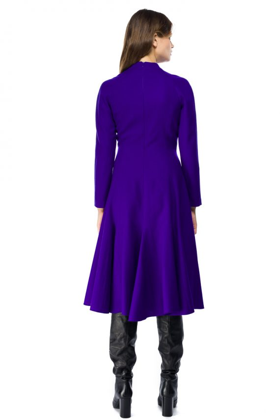 Godet Wool Midi Dress