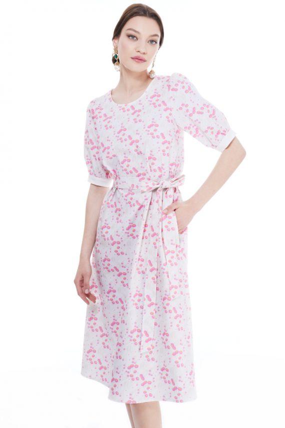 Greta V Back Cotton Midi Dress