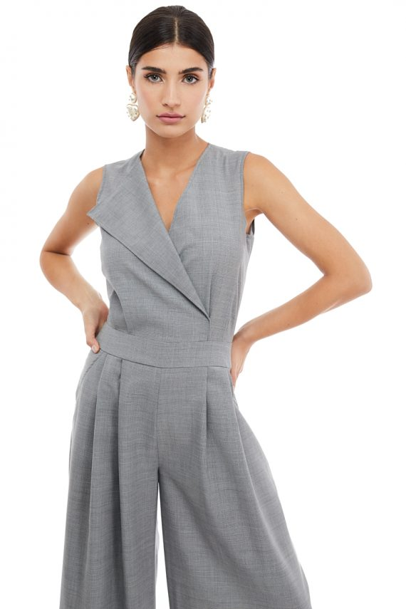 Grey Sleeveless Wool Jumpsuit - back