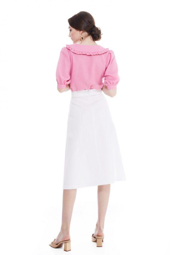 Ida Wrap-Effect Midi Skirt