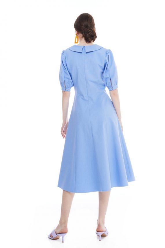 Ingrid Button Embellished Cotton Midi Dress