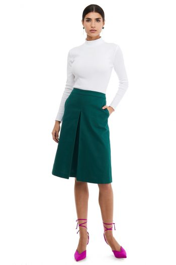 Inverted Box Pleat Midi Skirt