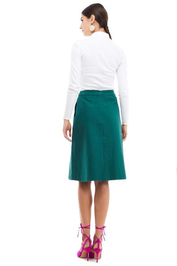 Inverted Box Pleat Midi Skirt
