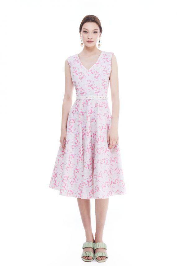 Irene Belted Cotton Midi Dress