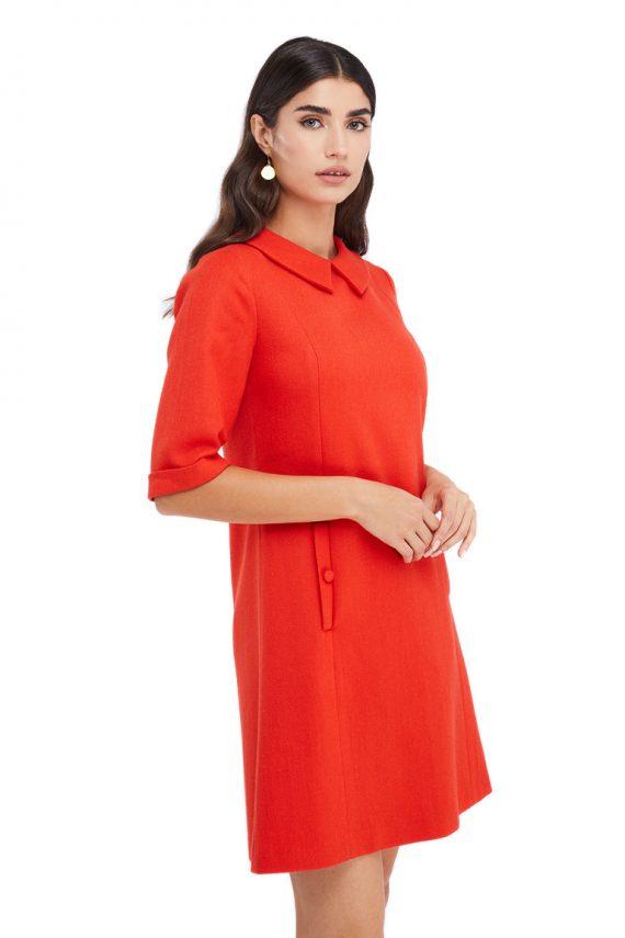 Iris Button Embellished Wool Mini Dress