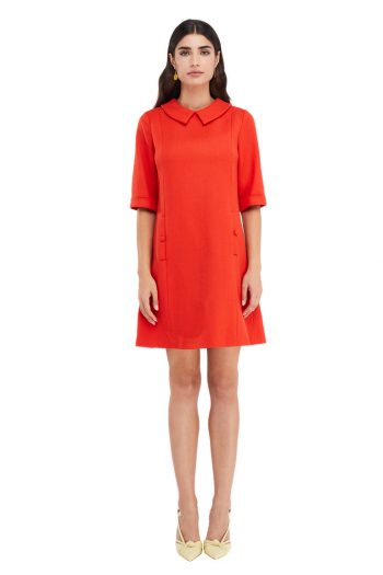 Iris Button Embellished Wool Mini Dress