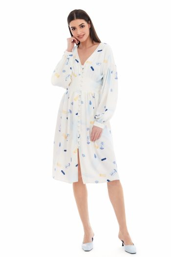 Jellyfish Print Midi Shirt Dress