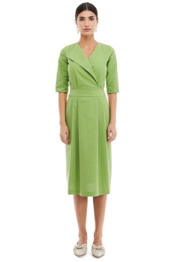 Lapel Cotton Midi Dress