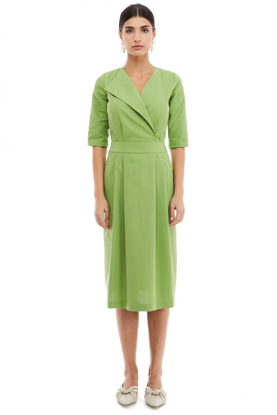 Lapel Cotton Midi Dress