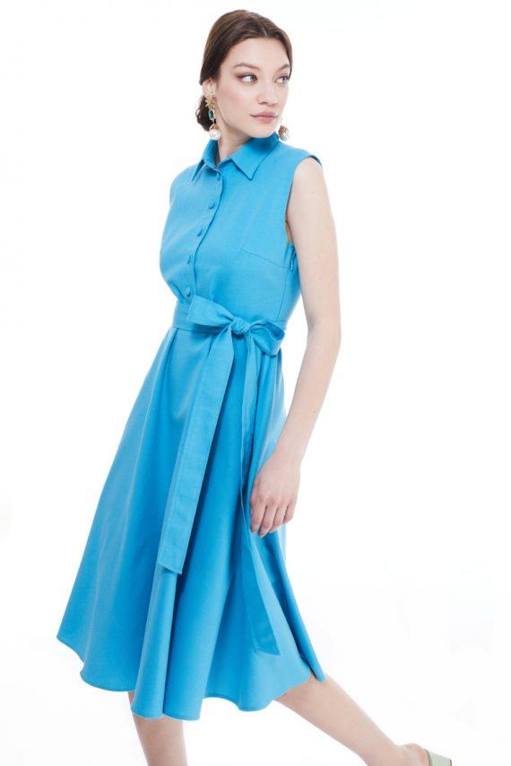 Lauren Sleeveless Cotton Midi Dress