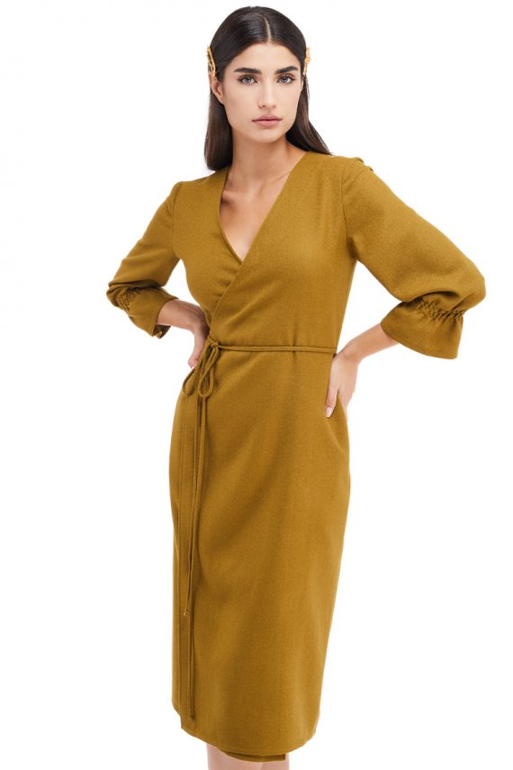Lea Wrap Effect Wool Midi Dress