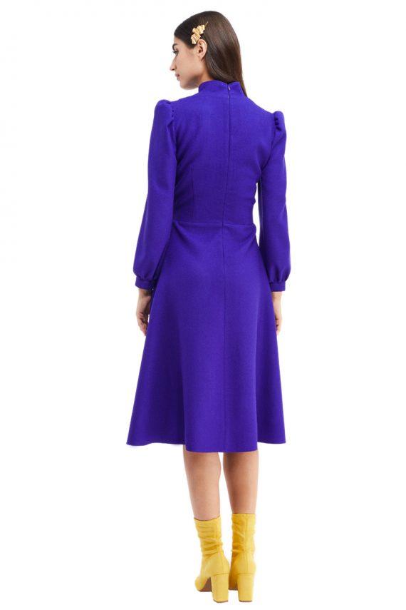 Lena Gathered Wool Midi Dress