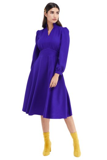 Lena Gathered Wool Midi Dress