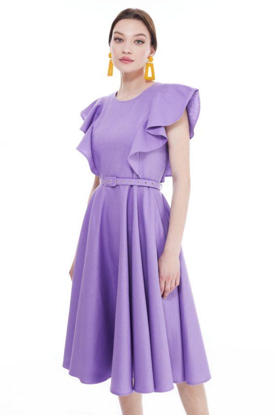 Loretta Ruffled Cotton Midi Dress