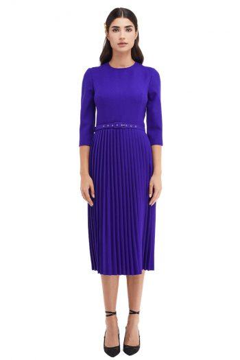Madeleine Pleated Wool Midi Dress
