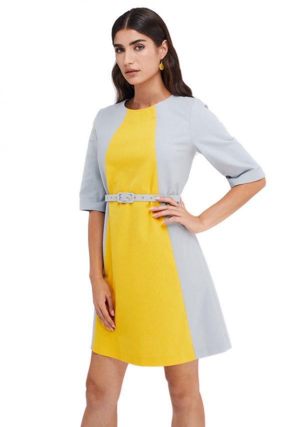 Manon Two Tone Front Detailed Cotton Mini Dress