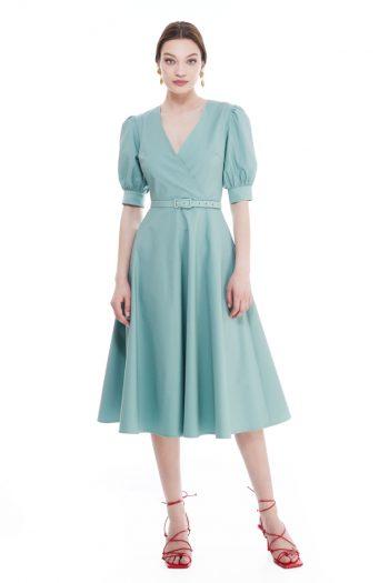 Margaret Wrap Effect Cotton Midi Dress