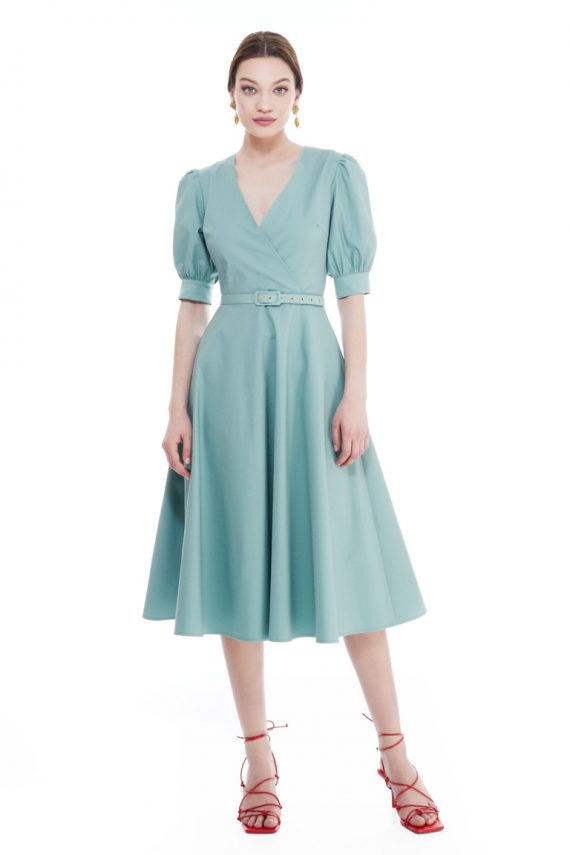 Margaret Wrap Effect Cotton Midi Dress