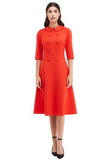 Margot Button Embellished Collar Midi Dress Front