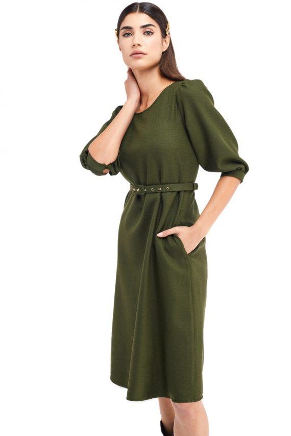 Marion Cutout Back Wool Midi Dress