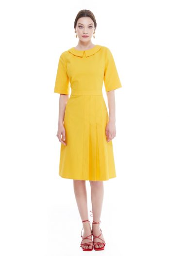 Miriam Pleated Cotton Midi Dress