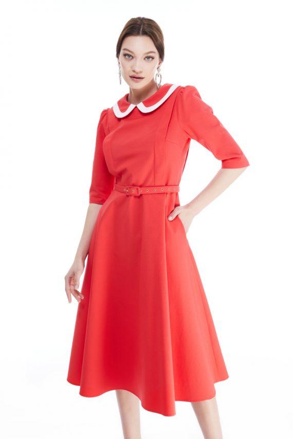 Nina Two Tone Collar Cotton Midi Dress