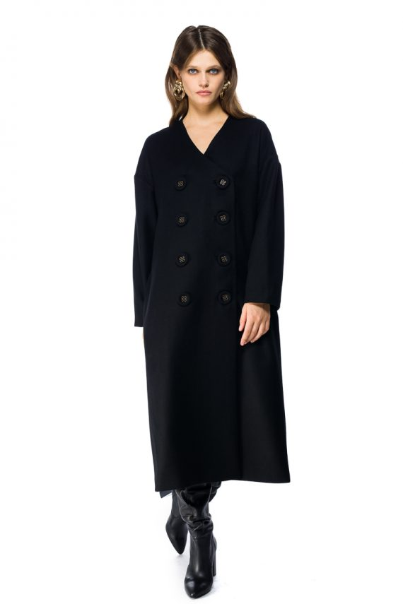 Oversized Double Breasted Wool Coat - motion