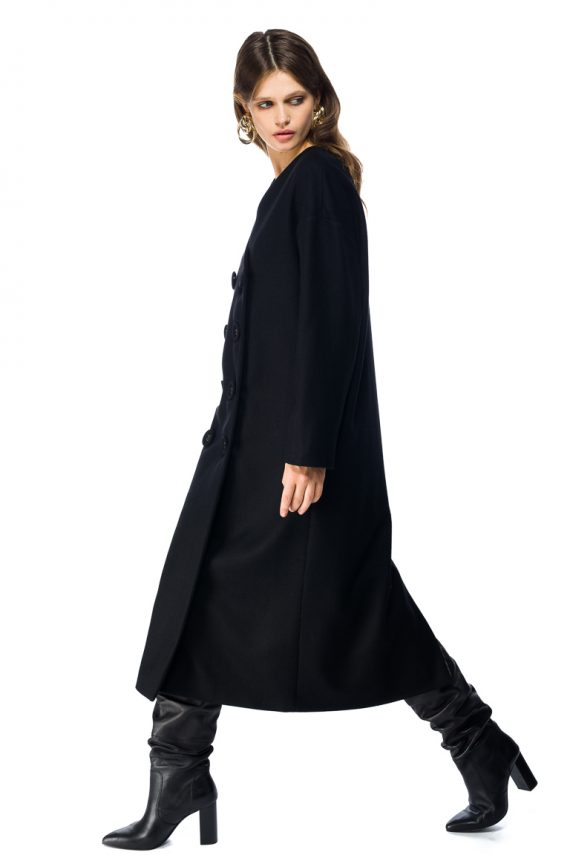 Oversized Double Breasted Wool Coat - side