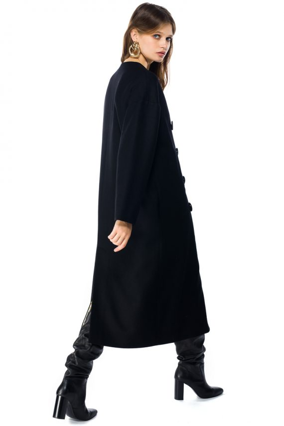 Oversized Double Breasted Wool Coat - side back