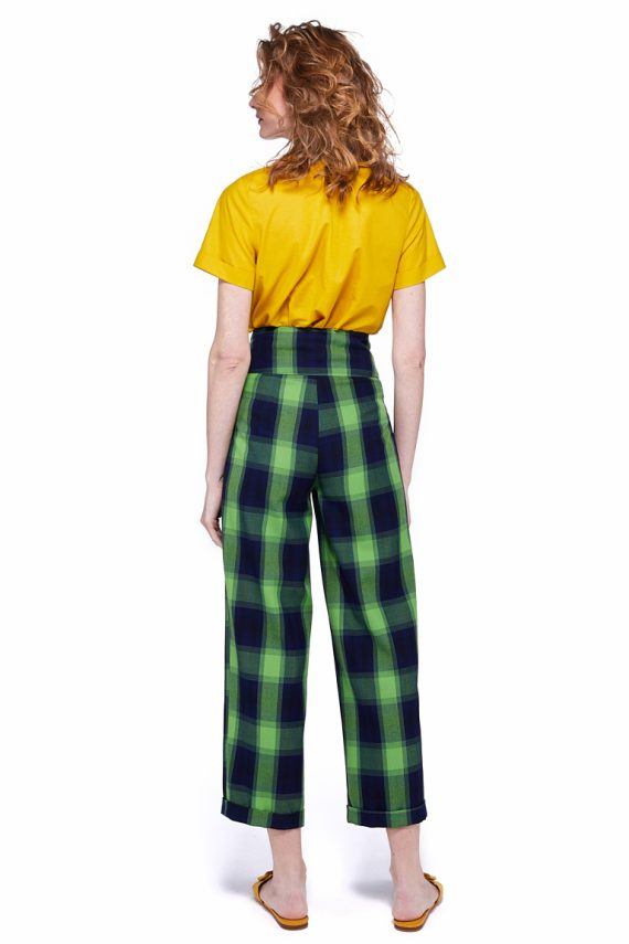 Button Embellished Plaid Pants