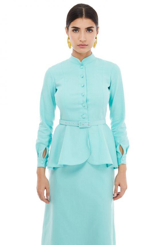 Peplum Blazer Cotton A-Line Skirt