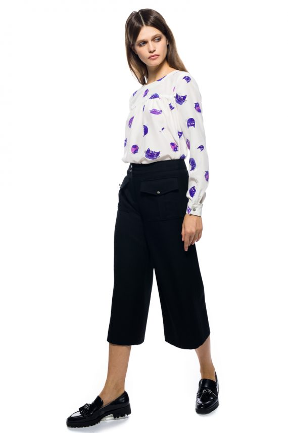 Pocket Detailed Wool Blend Pants