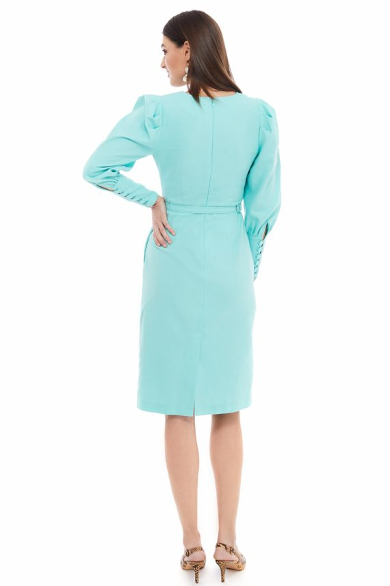 Puff Sleeve Belted Cotton Dress