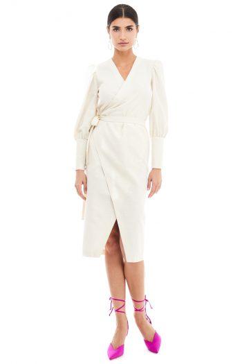Puff Sleeve Midi Wrap Dress