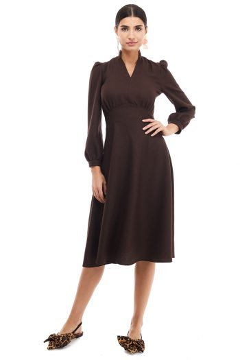 Puff Sleeve Wool Dress