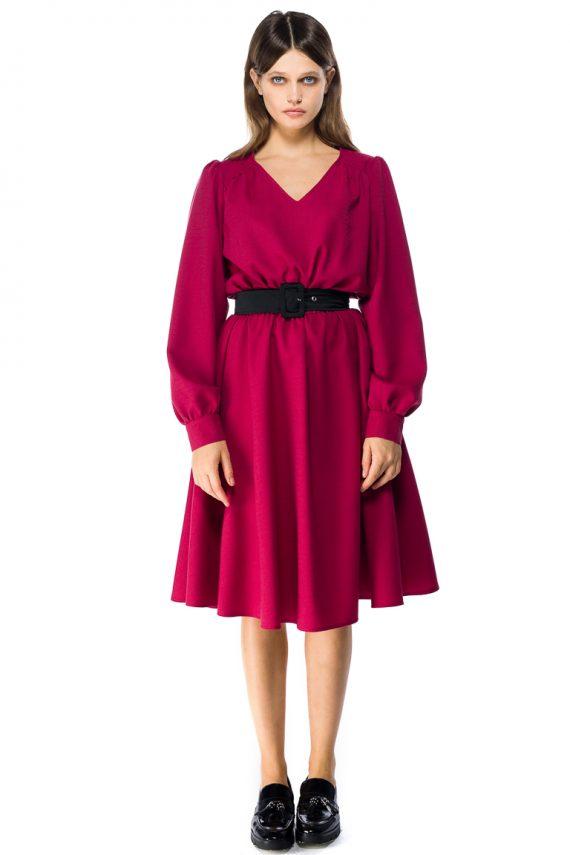 Puff Sleeve Wool Midi Dress
