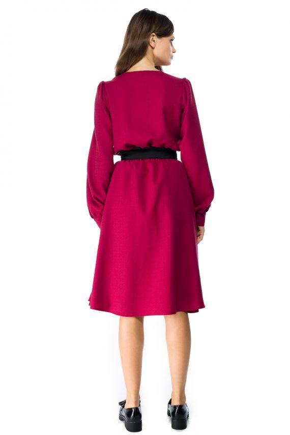 Puff Sleeve Wool Midi Dress - back