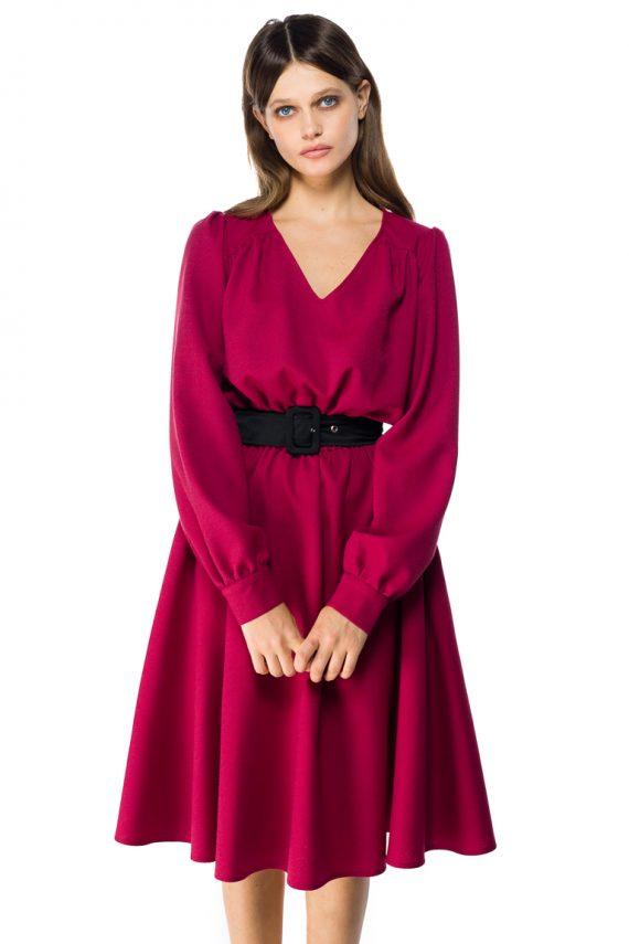 Puff Sleeve Wool Midi Dress - close up