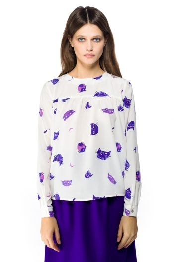 Purple Cats Silk Blouse