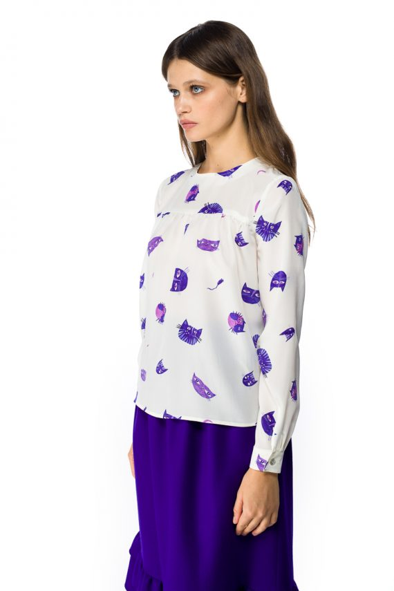 Purple Cats Silk Blouse - side