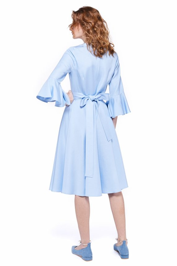 Belted Viscose Silk Blend Dress
