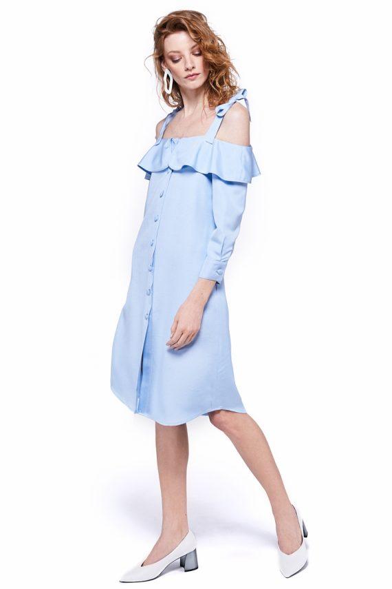Cold Shoulder Ruffled Shirt Dress