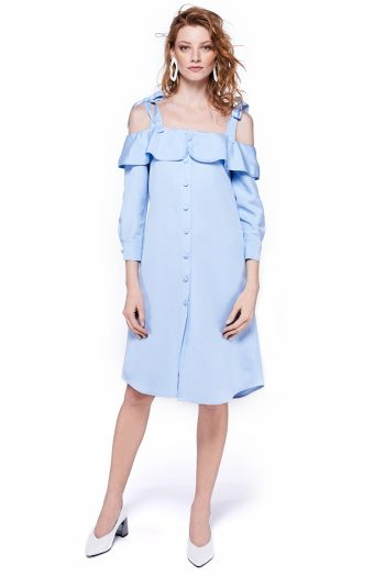 Cold Shoulder Ruffled Shirt Dress