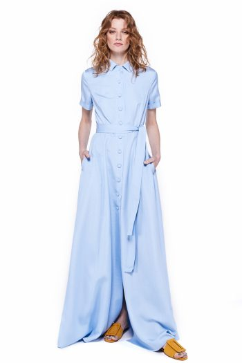 Belted Viscose Silk Blend Maxi Dress