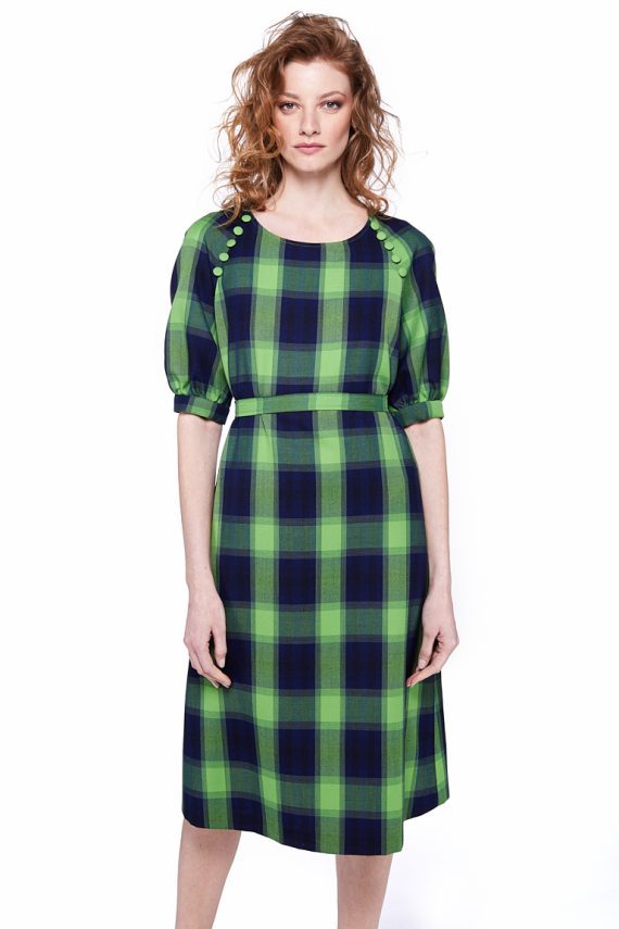 Belted Plaid Midi Dress