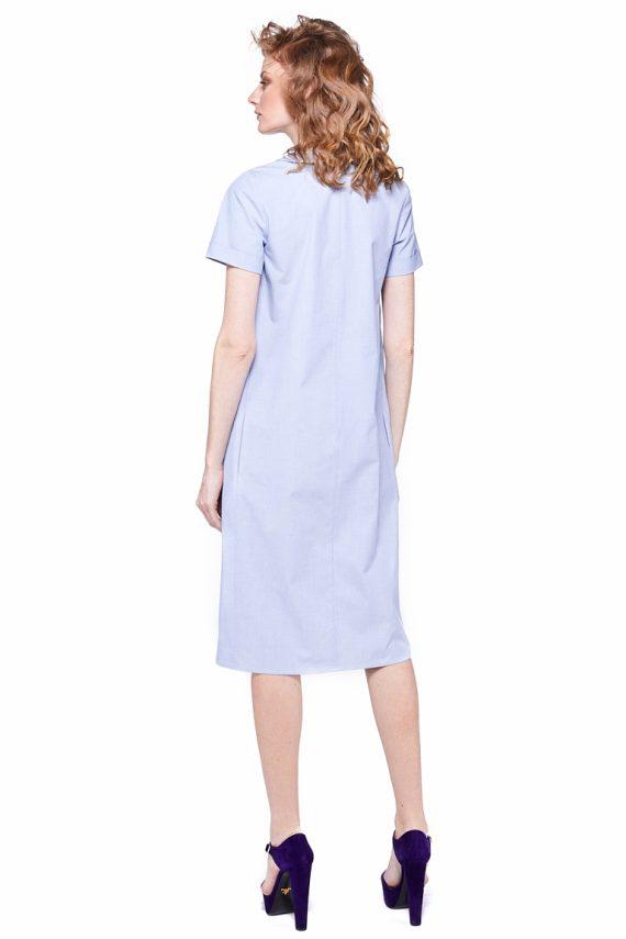 Round Collar Cotton Midi Dress